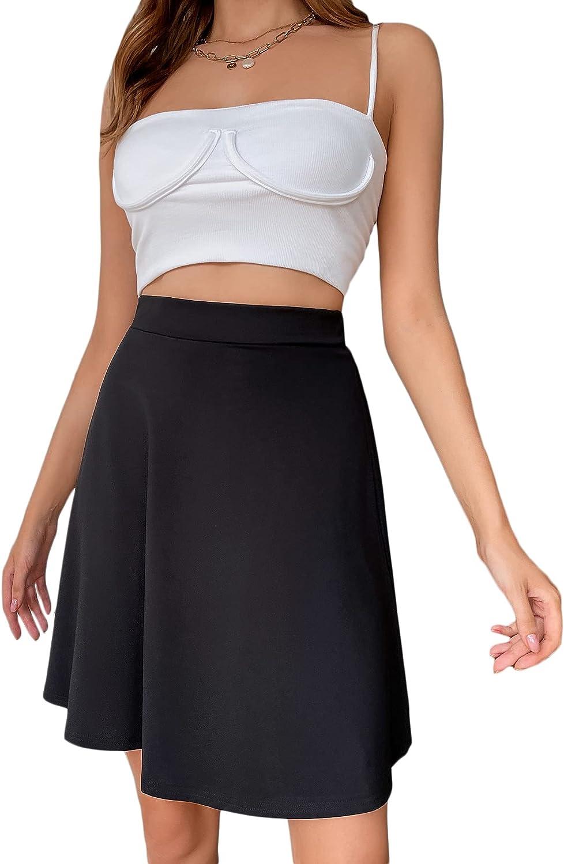 Milumia Women Casual High Waist Skater Skirt Solid A Line Short Swing Skirt