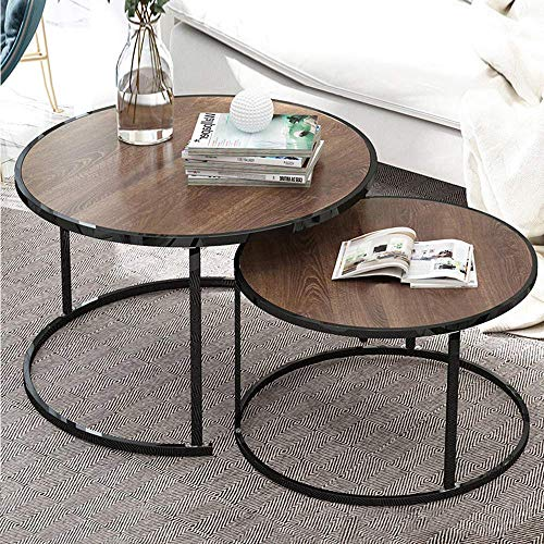 GWFVA Nesting Coffee Tables Wood Living Room Table Sets, Marble Look Sofa Side Nest of Tables Round End Tables with Black Metal Frame Home Decor Sets(Oak, Set of 2)
