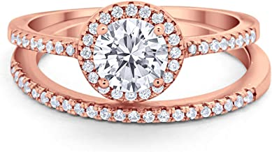 Blue Apple Co. Halo Vintage Style Wedding Engagement Ring Band Bridal Set 925 Sterling Silver Round Cubic Zirconia