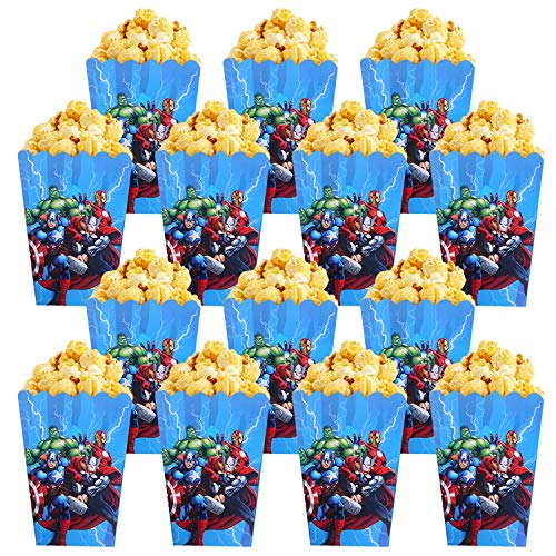 Qemsele Popcorntüten Popcornboxen, 30 Stück Karton Popcorn Box Snack Tüte Partytüten für Leckereien und Süßigkeiten Geburtstagsfeiern, Filmabend, Karneval, Hochzeiten, Kindergeburtstag (Avengers)