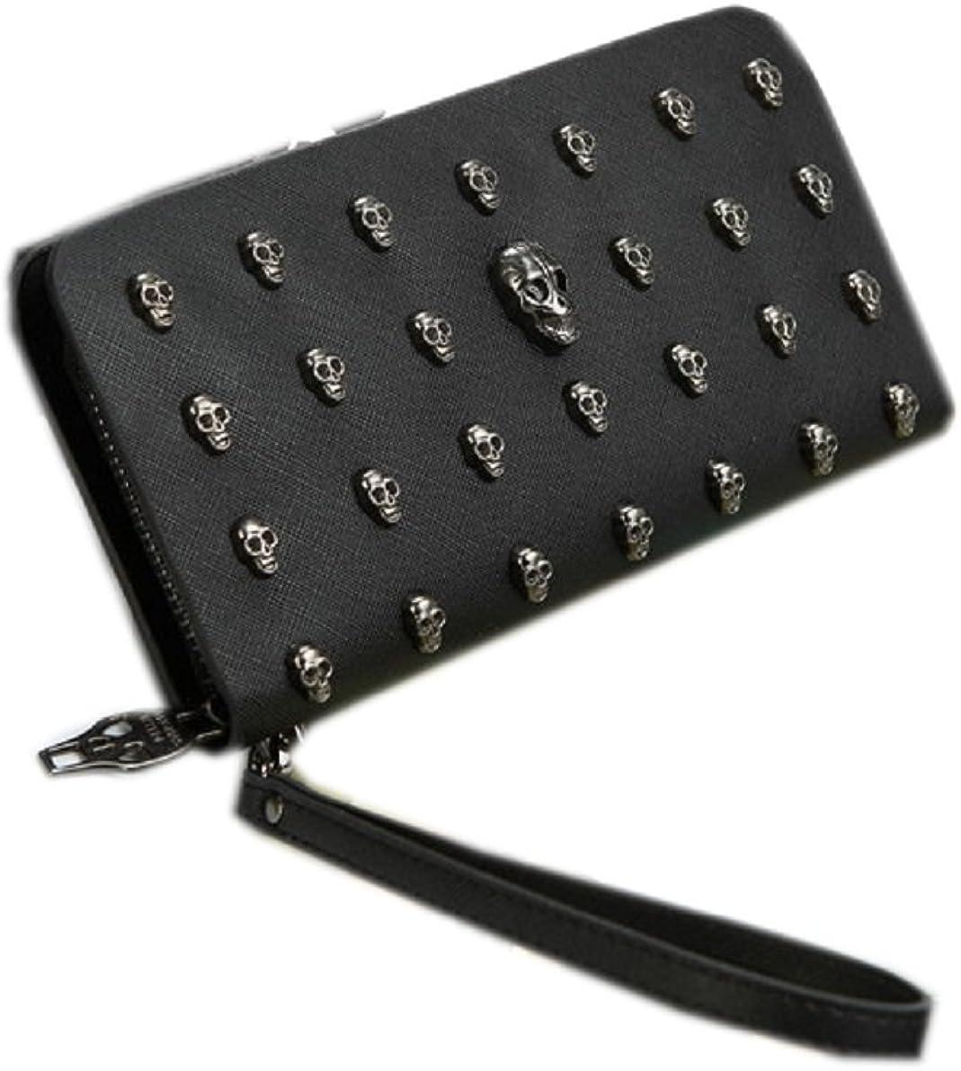 JJ-GOGO Men and Women Retro Punk Skull Rivet Wallet Clutch Bags Wristlet Handbags