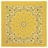 100% Cotton Western Paisley Bandanas (22 inch x 22 inch) Made in USA - Gold Single Piece 22x22 - Use For Handkerchief, Headband, Cowboy Party, Wristband, Head Scarf - Double Sided Print