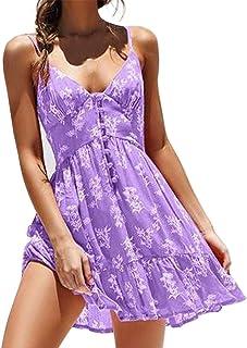 COZOCO Vestido de Mujer Elegante Corto sin Tirantes Sexy con Flor Floral con Cuello en V Rodilla Vestido Largo de Playa