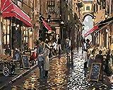 YUHHGFK DIY Pintura por Números Café de la Calle Pint por Número de Kits con Pinceles y Pinturas para Adultos, niños y Principiantes Decoraciones Hogar - 40 X 50 cm (Sin Marco)