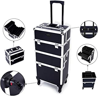 Mefeir 2-in-1 Rolling Makeup Train Case,4 Removable Travel Wheels w/Lockable Keys +Shoulder Strap,Aluminum Cosmetic Trolley Cart Beauty Artist Organizer Stylist,Ideal Xmas New Year Gift(Black)