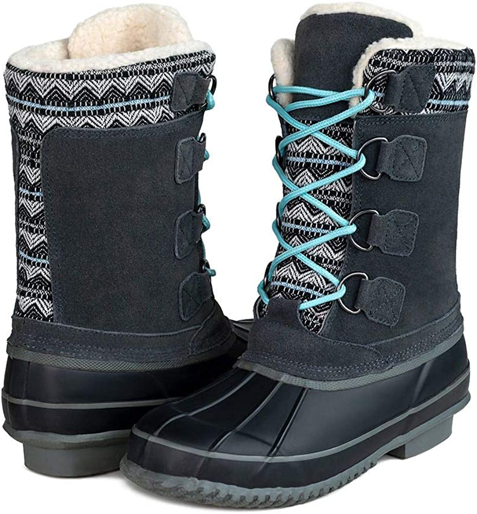 Women's Cow suede Leather Lace Up Winter Outdoor Snow Duck Boots,Warm Waterproof Mid Calf Duck Boots for Women