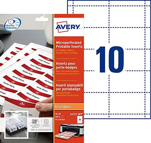 Avery L4727-20 Namensschild-Einsteckschilder 54 x 90 mm