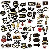 Comius Sharp 69 Piezas 40 Cumpleaños Foto Props, Feliz Cumpleaños Accesorios Fiesta Suministros, Photocall DIY Photo Booth Atrezzo Favorecer cumpleaños Accesorios Decoracion Fiesta
