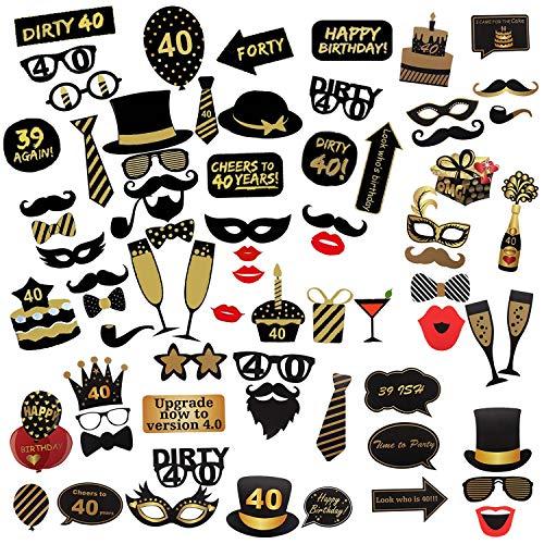 Comius 40 Anni Compleanno Photo Booth Props, 69 PCS DIY Photo Booth Accessori per la Sua o la Sua Celebrazione 40 Compleanno Cabina Fotografica Puntello