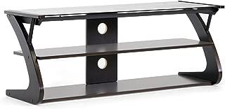 Baxton Studio Studio Sculpten Modern TV Stand with Glass Shelves, Dark Brown/Black, 45.2