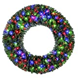 Home Heritage 48 Inch Pre-Lit Holiday Christmas Wreath w/ 200 Color LED Lights and 976 PVC Tips