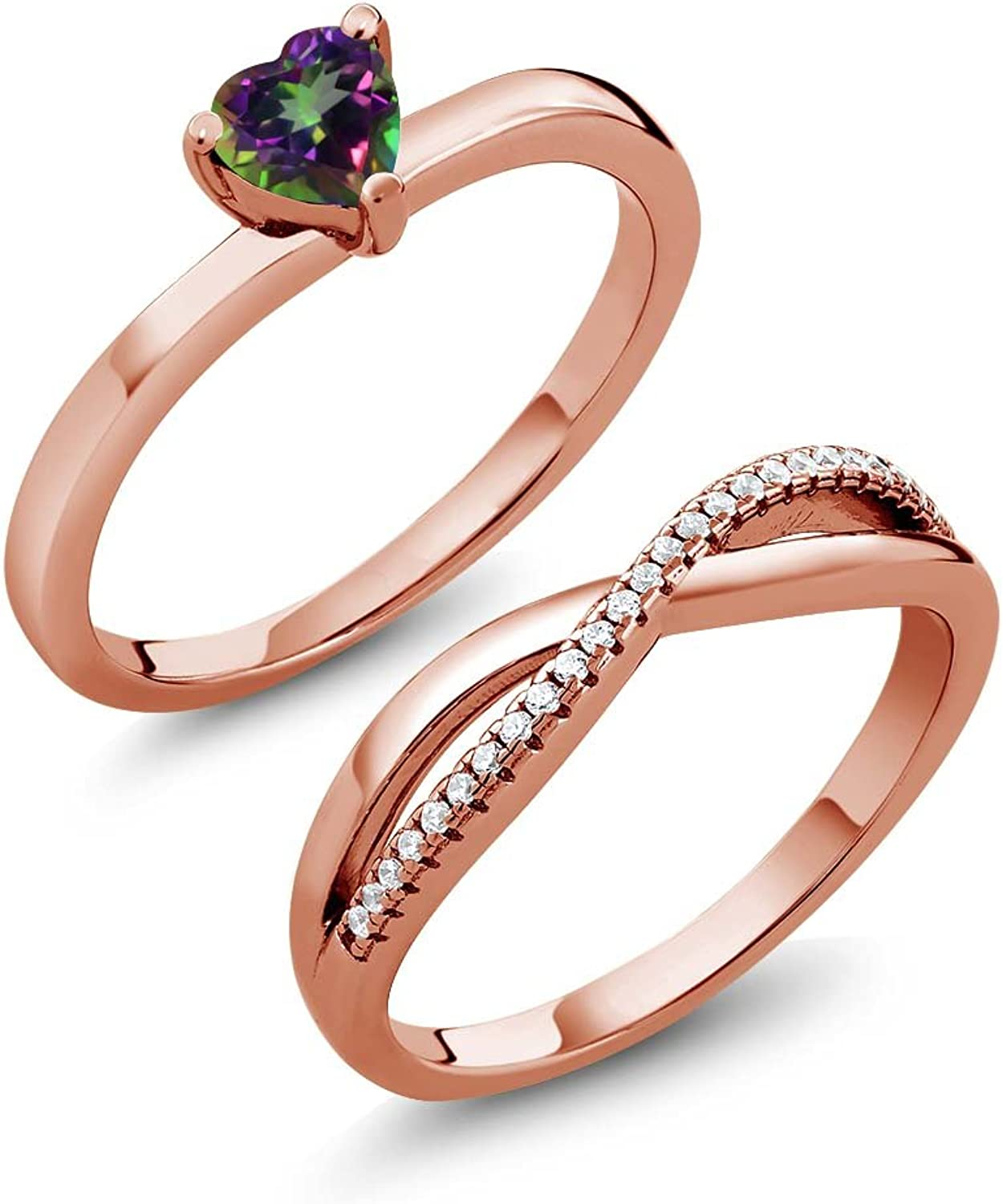 0.90 Ct Green Mystic Topaz 18K pink gold Plated Silver Engagement Wedding Ring Set