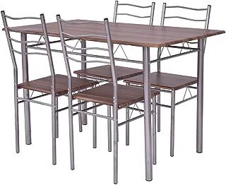 Diamondgift Dining Table Set Wood Metal Walnut Furniture w/4 Kitchen Breakfast Chair 5 Piece