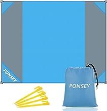 Ponsey Alfombra de Playa, Manta de Picnic Impermeable Manta 200 x 200 cm Anti Arena Portátil Manta con 4 Estaca Fijo para la Playa, Acampar, Picnic y Otra Actividad