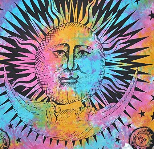 Psychedelic Celestial Indian Burning Sun Moon Hippie Hippy Tapisserie Wall Hanging Throw Tie Dye Hippie Hippie Boho böhmischen Tye Die Fenster Tür Tür Tür Vorhang