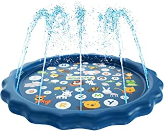 "Bestmaple Sprinkler for Kids, Splash Pad, and Wading Pool for Learning - Children's Sprinkler Pool, 68"" Inflatable Water T..."