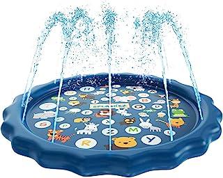"Bestmaple Sprinkler for Kids, Splash Pad, and Wading Pool for Learning - Children's Sprinkler Pool, 68"" Inflatable Water T..."