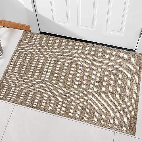 """Indoor Doormat, Front Back Door Mat Rubber Backing Non Slip Door Mats 20""""x31.5"""" Absorbent Resist Dirt Entrance Doormat Inside Floor Mats Area Rug for Entryway Machine Washable Low-Profile (Brown)"""