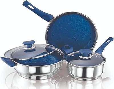 ETHICAL Kitchenart Stainless Steel Encapsulated Bottom 5pcs Cookware Set Sauce Pan 18cm, Fry Pan 26cm & Kadhai 26cm Diameter with Glass Lid (Blue)