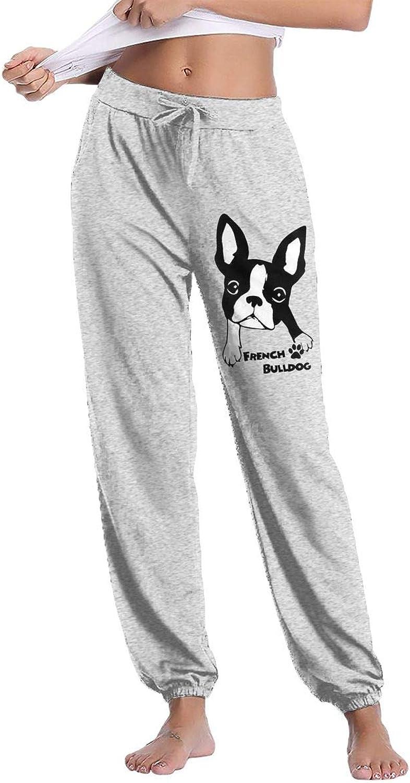 Meamyezz Women's French Bulldog Jogger Sweatpant Pockets