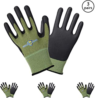 Golden Scute 3 Pairs Bamboo Working Gloves, Micro-Foamed Nitrile Coating Safety Work Gloves for Gardening, Fishing, Clamming, Restoration Work(Extra Large/Size 10)