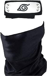 Cosplay Accessories Leaf Village Headband and Unisex Hatake Kakashi Cosplay Mask Veil Black