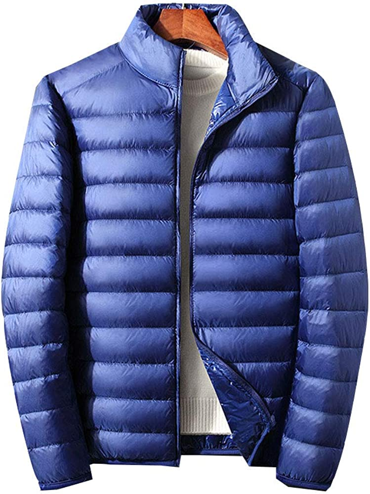 LINGMIN Men's Long Sleeve Coat Stand Collar Lightweight Zip Fashion Down Jackets
