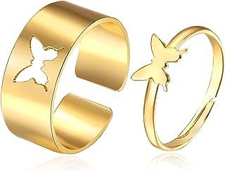 SLSF 2 قطعة قابل للتعديل مطلي بالذهب فراشة الأزواج خاتم للنساء الرجال الوعده لطيف ماتي فراشة العصرية خواتم مجموعة المجوهرات