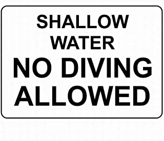 SUPVIVI Notice Warning Sign Decor 12 x 16 Tin Metal Signs Shallow Water No Diving Allowed Safety Sign Novelty Signs