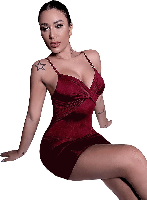 SweatyRocks Women's Sexy Twisted Front Spaghetti Strap Bodycon Mini Cami Dress