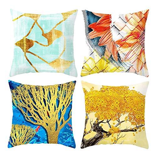 Malinmay Kissenbezüge Sofa, Polyester Butterfly Animal Throw Kissenbezüge 4 Stück, Blau Gelb 50X50CM