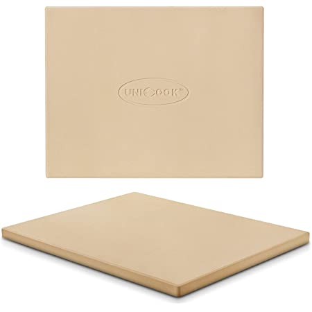 Unicook Heavy Duty Cordierite Pizza Stone, Baking Stone for Bread, Pizza Pan for Oven and Grill, Thermal Shock Resistant, 15 x 12 Inch Rectangular, 6.6Lbs