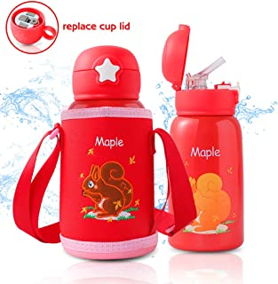 TOPELOTEK Kids Water Bottle Vacuum Insulated Water Bottle with Straw Stainless Steel Leak Proof for School Kids Thermos Sports Water Bottle, BPA Free Eco Friendly Durable