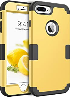 BENTOBEN Case for iPhone 8 Plus / 7 Plus Heavy Duty Slim Shockproof Drop Protection 3 in 1 Hybrid Hard PC Covers Soft Rubber Bumper Protective Case for iPhone 8 Plus / 7 Plus Yellow/Black