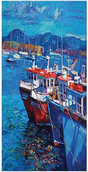 3D Decorative Film Privacy Window Film No Glue Country Decor Image Of Sail Boats Ships On The Shore Harbor By The Sea Small Rural Fishing Town Art Work Navy Red For Home Office