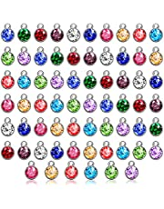 108 Pieces Crystal Birthstone Charms DIY Jewelry Necklace Bracelet Beads Pendant with Rings Mixed Handmade Round Crystal Charm for Earring Making Supplies, 7 mm, 12 Colors