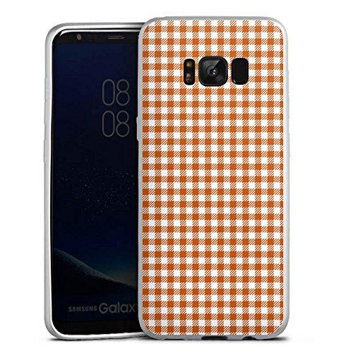 Samsung Galaxy S8 Silikon Hülle Silber Case Schutzhülle Karo Picknick Decke