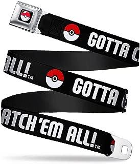 Buckle-Down Seatbelt Belt - Poke Ball/GOTTA CATCH 'EM ALL Black/White/Red - 1.5
