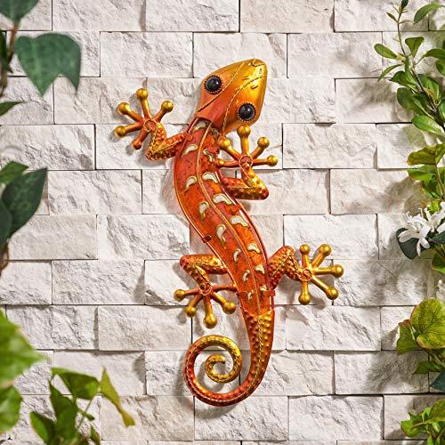 Creekwood Décoration Murale en Verre et métal Motif Papillon Grand Gecko Orange (W24 x L39 cm) Orange.