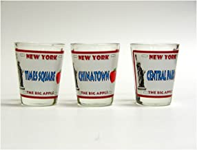 New York City Shot Glass Set of 3 Assorted New York City Souvenir and Gift - Vintage New York License Plates - Time Square Chinatown and Central Park