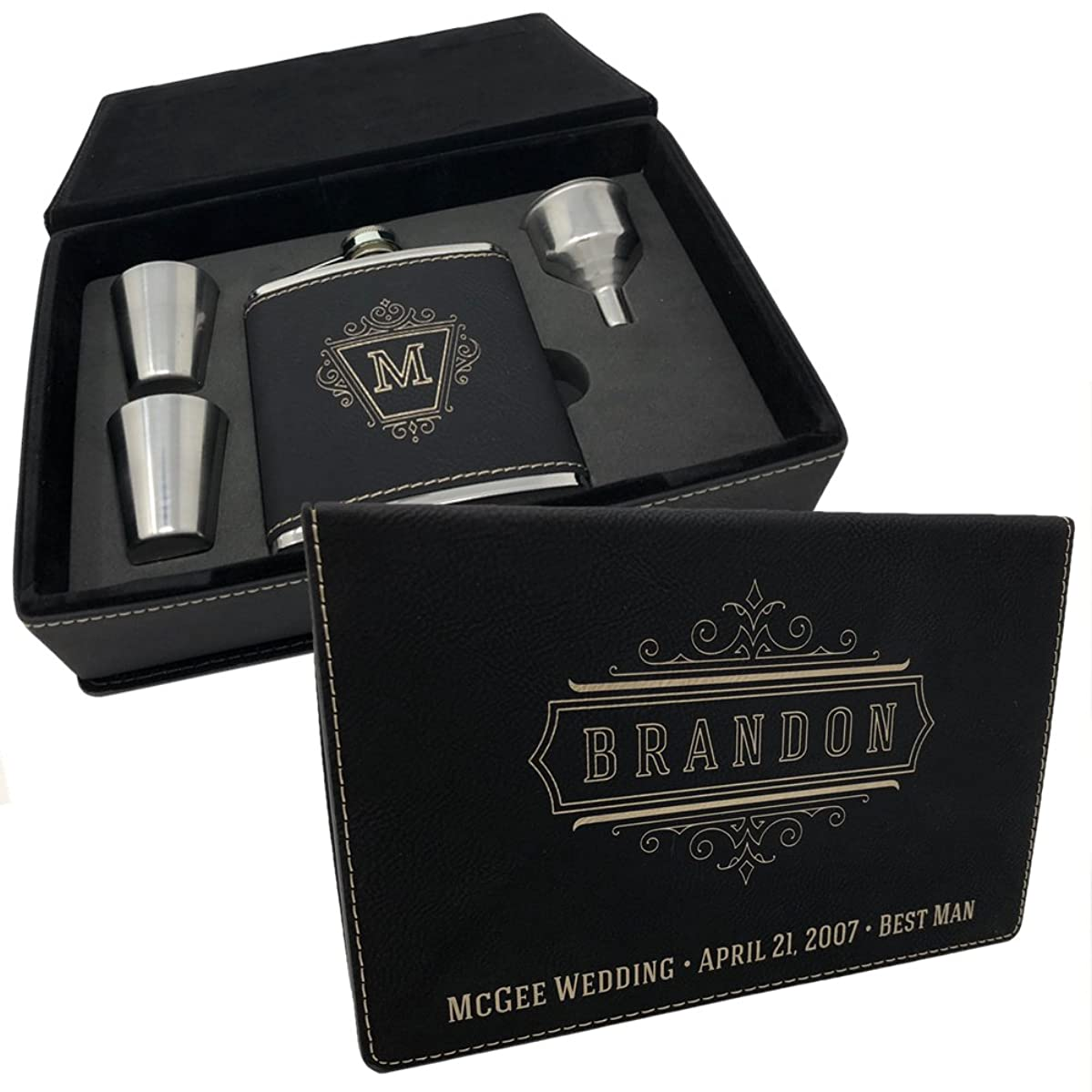 Personalized Leatherette Flask Set - Free Engraving on leather gift box and flask (Black w/ Silver Engraving)