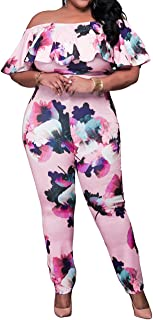 Sexy High Waist Plus Size Off Shoulder Floral Romper Jumpsuits for Women