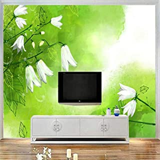 Pbldb Custom Mural 3D White Lily of The Valley Wallpaper for Walls 3D Art Green Fresh Wall Covering Living Room Home Decor Tv Wall-200X140Cm
