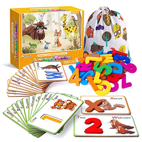 Animal Numbers and Alphabets Flash Cards for Toddlers Age 2 3 4 Years Old  Wooden Letters & Numbers Flashcards ABC Montessori Toys  Preschool Educational Learning Puzzles for Kids