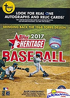 2017 Topps Heritage MLB Baseball EXCLUSIVE Factory Sealed Retail Box with 8 Packs & 72 Cards! Look for Real One Autographs ,Inserts,Parallels,Relics & More! Celebrate the Classic 1968 Design! WOWZZER!