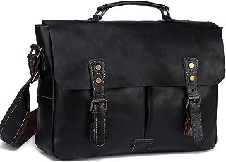 Leather Messenger Bag for Men, VASCHY Handmade Full Cowhide Leather Vintage Satchel 15.6 inch Laptop Business Briefcase Travel Shoulder Bag Black