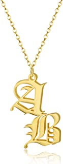 JEWELRY OCEAN Vintage Custom Old English Double Letters Necklace Stainless Steel Pendant Personalized Jewelry Gift for Women