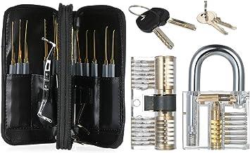 Leepesx 24 stuks Lock Unlocking Picking Set met twee praktische transparante trainingssloten voor beginners en professionals