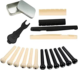Non-square 2 Sets of Guitar Parts and Guitar Bridge Pins Puller. 6 String Acoustic Guitar Plastic Bridge Pins, Saddle and Nut (1 Set Includes 1 Saddle, 1 Nut and 6 Pins)