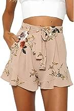 TLoowy 2017 Women's Floral Print Casual Shorts Summer High Waist Hot Pants with Belt